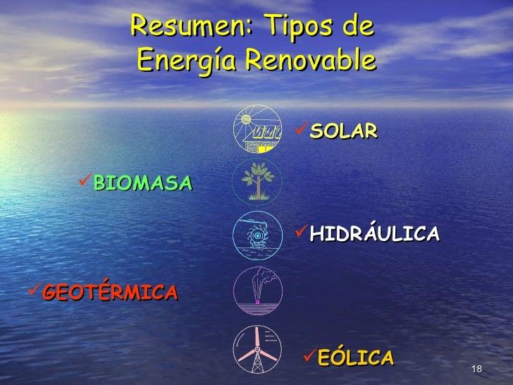 Resumen: Tipos de  Energía Renovable <ul><li>SOLAR </li></ul><ul><li>BIOMASA </li></ul><ul><li>HIDRÁULICA </li></ul><ul><l...