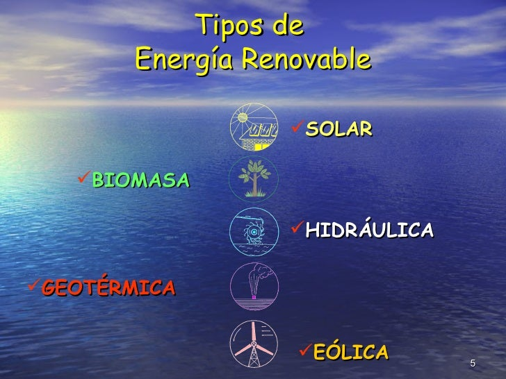Tipos de  Energía Renovable <ul><li>SOLAR </li></ul><ul><li>BIOMASA </li></ul><ul><li>HIDRÁULICA </li></ul><ul><li>GEOTÉRM...
