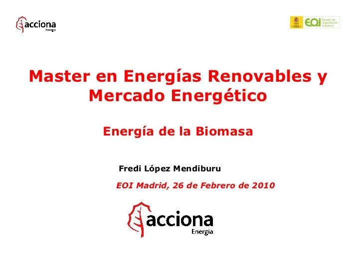 Master en Energías Renovables y      Mercado Energético       Energía de la Biomasa         Fredi López Mendiburu         ...