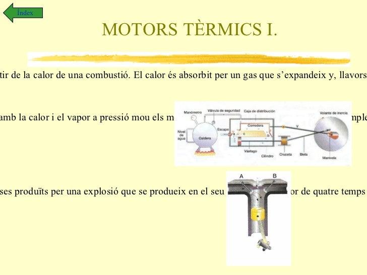 MOTORS I. Índex Els motors .  Son dispositius que transformen qualsevol tipus d'energia en energia mecànica. Motors elèctr...
