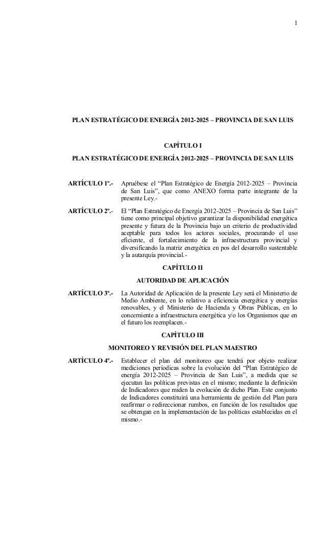 1 PLAN ESTRATÉGICO DE ENERGÍA 2012-2025 – PROVINCIA DE SAN LUIS                                CAPÍTULO I PLAN ESTRATÉGICO...