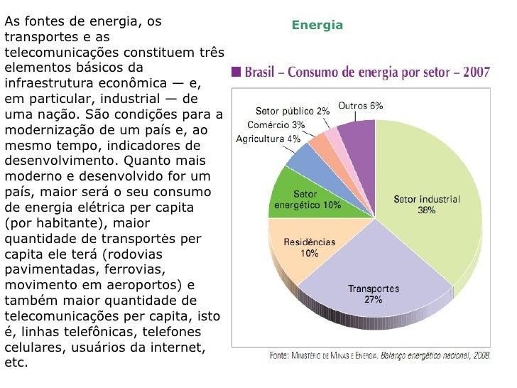 As fontes de energia, os            Energiatransportes e astelecomunicações constituem trêselementos básicos dainfraestrut...