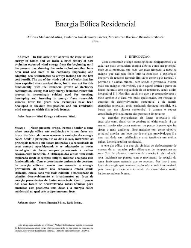 Energia Eólica Residencial Altieres Mariano Martins, Frederico José de Souza Gomes, Messias de Oliveira e Ricardo Emílio d...