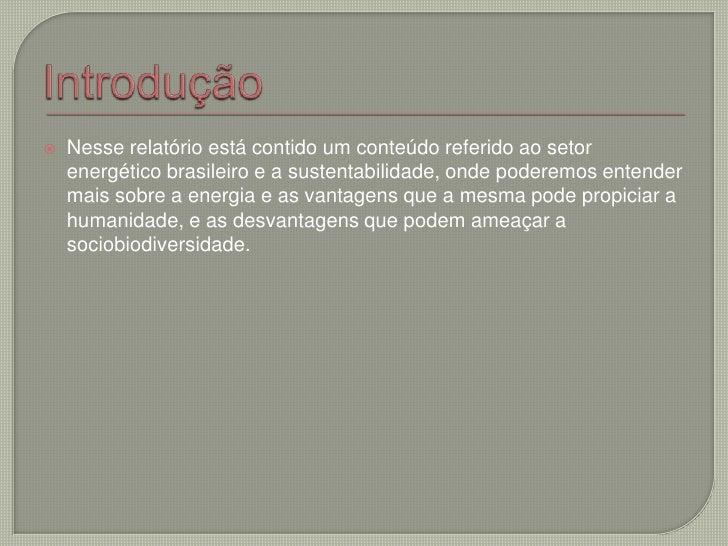 Introdução<br />Nesse relatório está contido um conteúdo referido ao setor energético brasileiro e a sustentabilidade, ond...