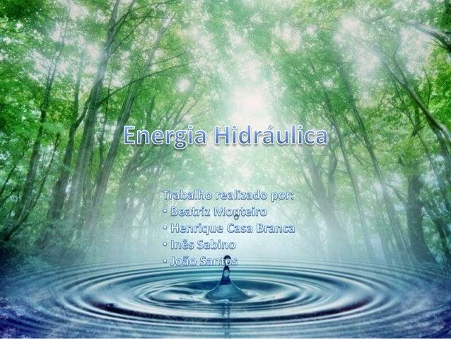 • A energia hídrica ou hidráulica é a energia obtida a partir  da energia potencial de uma massa de água. A forma na  qual...