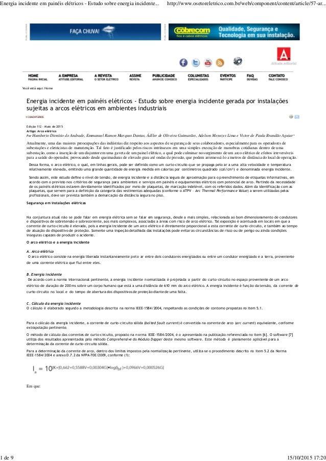 Você está aqui: Home Energia incidente em painéis elétricos - Estudo sobre energia incidente gerada por instalações sujeit...