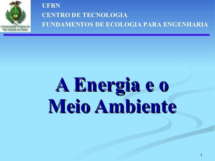 A Energia e o Meio Ambiente UFRN CENTRO DE TECNOLOGIA FUNDAMENTOS DE ECOLOGIA PARA ENGENHARIA