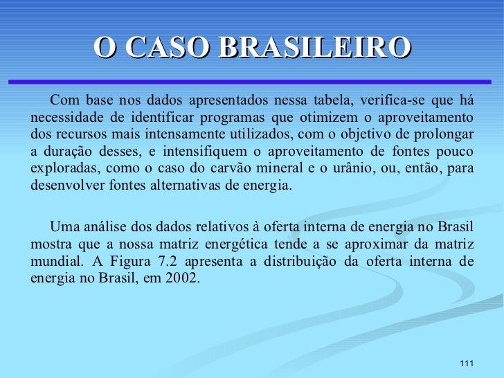 O CASO BRASILEIRO <ul><li>Com base nos dados apresentados nessa tabela, verifica-se que há necessidade de identificar prog...