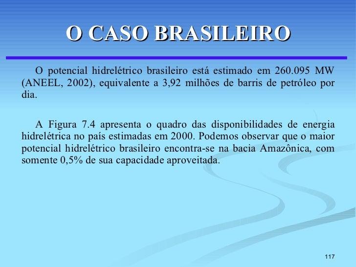 O CASO BRASILEIRO <ul><li>O potencial hidrelétrico brasileiro está estimado em 260.095 MW (ANEEL, 2002), equivalente a 3,9...