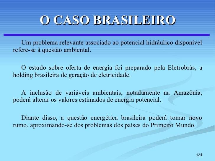 O CASO BRASILEIRO <ul><li>Um problema relevante associado ao potencial hidráulico disponível refere-se à questão ambiental...