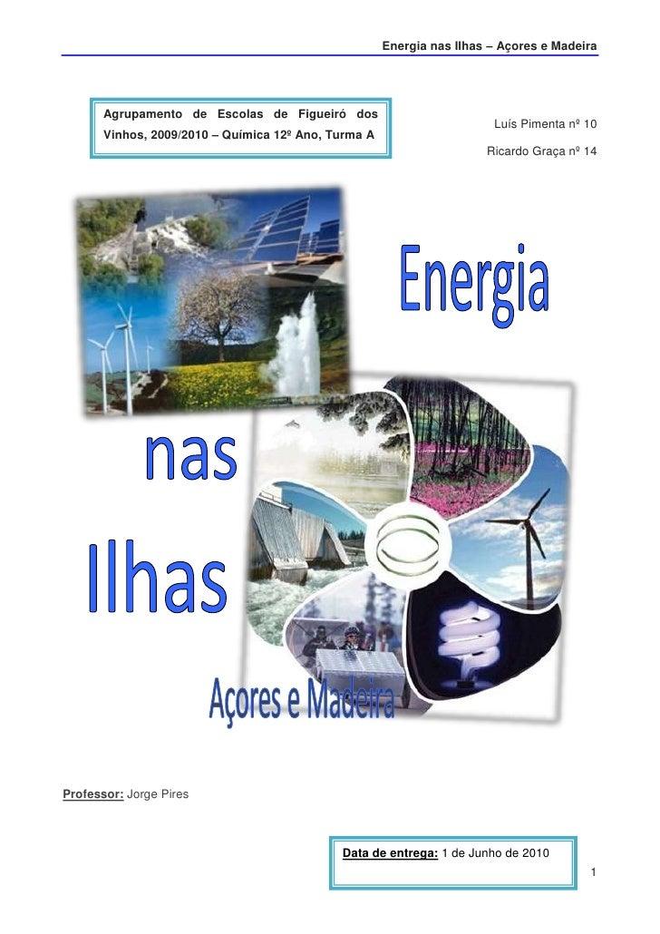 Agrupamento de Escolas de Figueiró dos Vinhos, 2009/2010 – Química 12º Ano, Turma A<br />Luís Pimenta nº 10<br />Ricardo G...