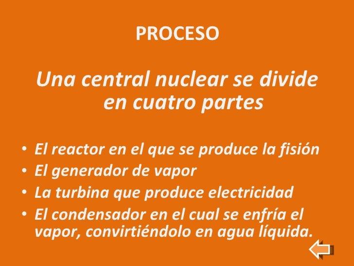 PROCESO <ul><li>Una central nuclear se divide en cuatro partes </li></ul><ul><li>El reactor en el que se produce la fisión...