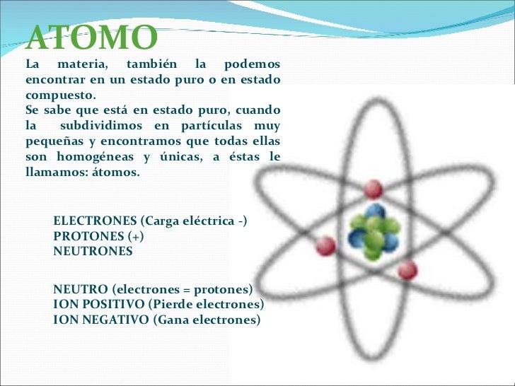 ATOMO La materia, también la podemos encontrar en un estado puro o en estado compuesto. Se sabe que está en estado puro, c...