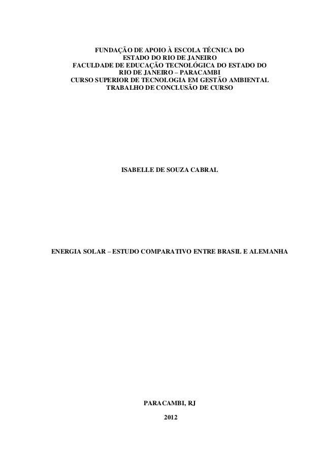 FUNDAÇÃO DE APOIO À ESCOLA TÉCNICA DO ESTADO DO RIO DE JANEIRO FACULDADE DE EDUCAÇÃO TECNOLÓGICA DO ESTADO DO RIO DE JANEI...