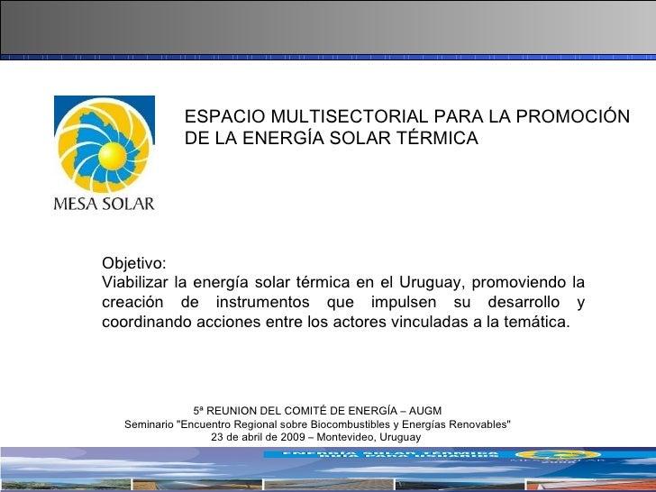 ESPACIO MULTISECTORIAL PARA LA PROMOCIÓN DE LA ENERGÍA SOLAR TÉRMICA 5ª REUNION DEL COMITÉ DE ENERGÍA – AUGM Seminario &qu...