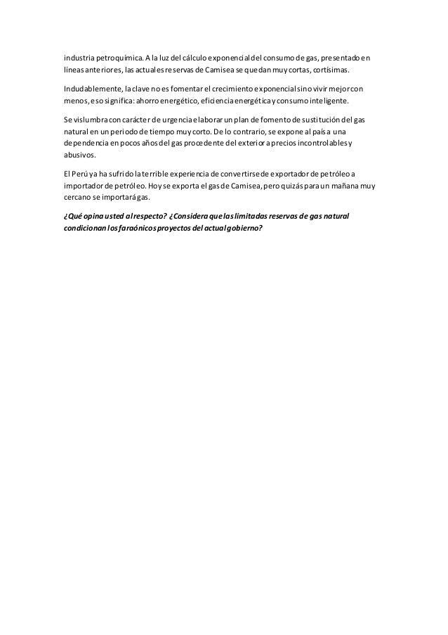industriapetroquímica.A laluzdel cálculoexponencialdel consumode gas,presentadoen líneasanteriores,lasactualesreservasde C...