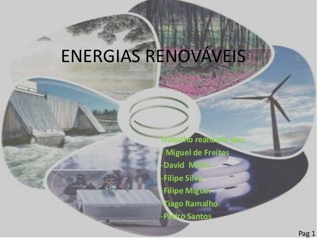 ENERGIAS RENOVÁVEIS          Trabalho realizado por:          - Miguel de Freitas          -David Milho          -Filipe S...
