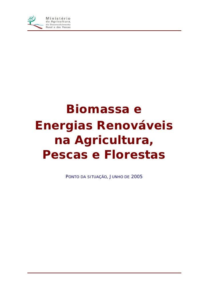 Biomassa e Energias Renováveis   na Agricultura,  Pescas e Florestas     PONTO DA SITUAÇÃO, JUNHO DE 2005