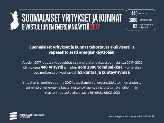 www.energiatehokkuussopimukset2017-2025.fi SUOMALAISETYRITYKSETJAKUNNAT &VASTUULLINENENERGIANKÄYTTÖ2017 Suomalaiset yrityk...