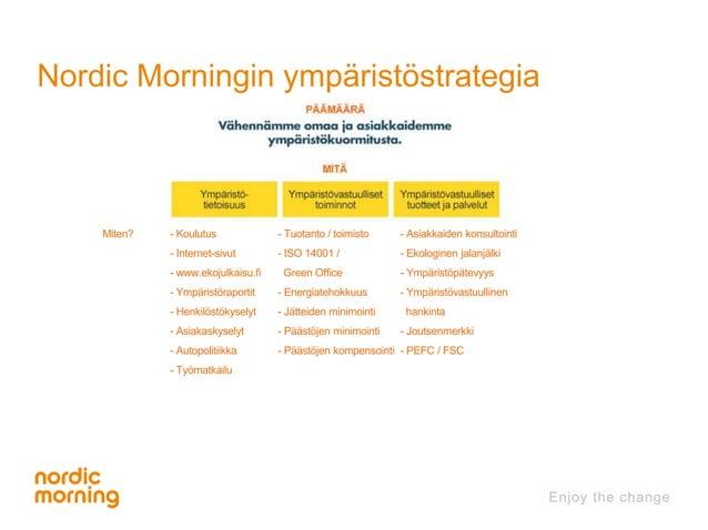 Nordic Morningin ympäristöstrategia  Miten? - Koulutus  - Internet-sivut  - www.ekojulkaisu.fi  - Ympäristöraportit  - Hen...