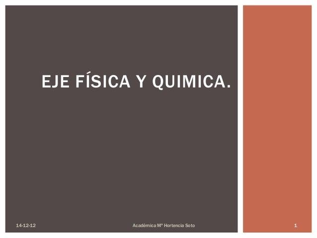 EJE FÍSICA Y QUIMICA.14-12-12             Académica Mª Hortencia Soto   1