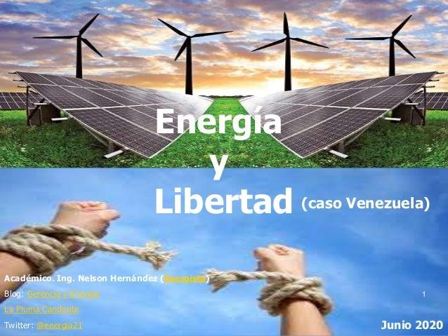Energía y Libertad Académico. Ing. Nelson Hernández (Energista) Blog: Gerencia y Energía La Pluma Candente Twitter: @energ...