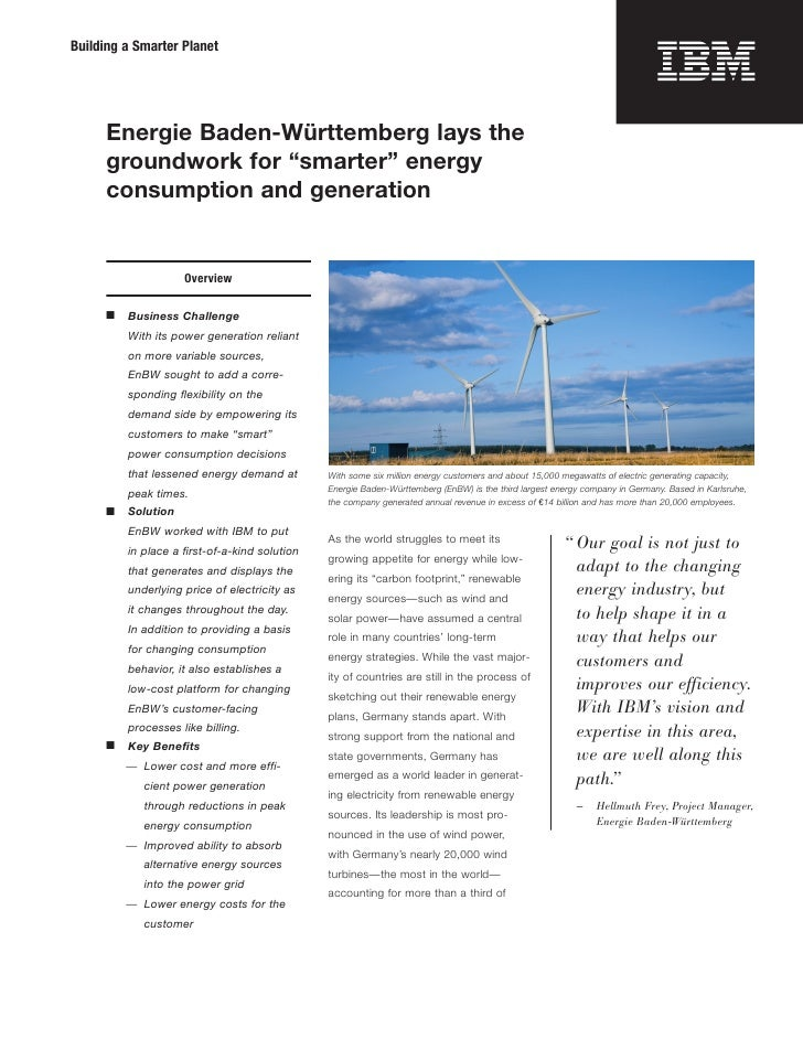 """Building a Smarter Planet           Energie Baden-Württemberg lays the       groundwork for """"smarter"""" energy       consump..."""