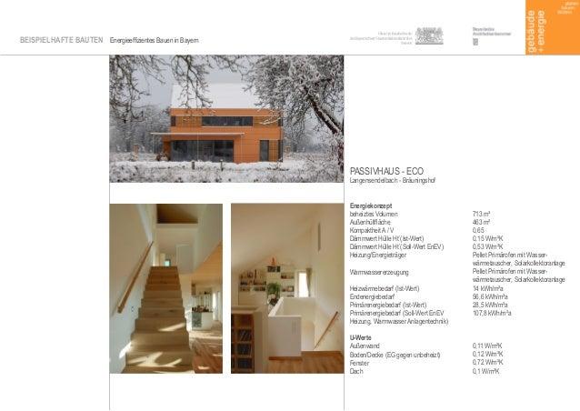 BEISPIELHAFTE BAUTEN Energieeffizientes Bauen in Bayern Energiekonzept beheiztes Volumen Außenhüllfläche Kompaktheit A / V...