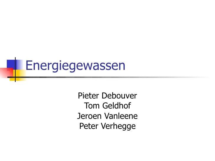 Energiegewassen Pieter Debouver Tom Geldhof Jeroen Vanleene Peter Verhegge