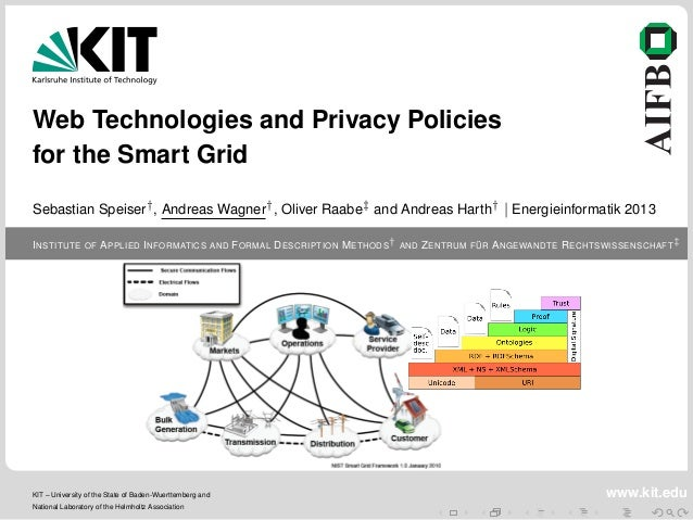 Web Technologies and Privacy Policies for the Smart Grid Sebastian Speiser† , Andreas Wagner† , Oliver Raabe‡ and Andreas ...