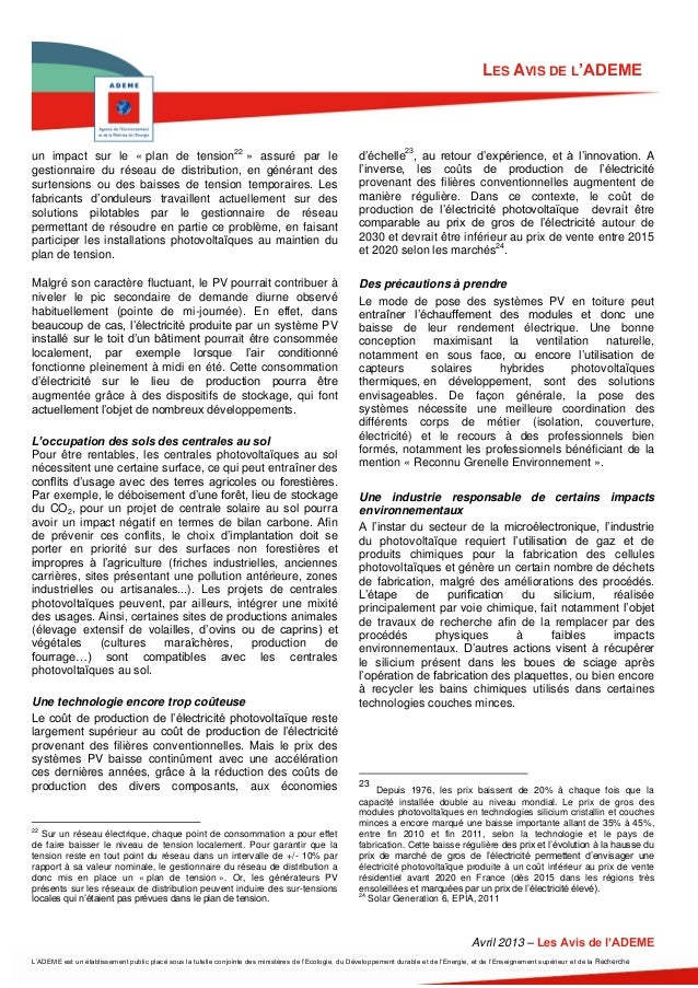 LES AVIS DE L'ADEMEun impact sur le « plan de tension22 » assuré par le                                                   ...