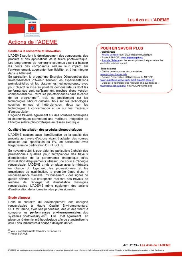 LES AVIS DE L'ADEMEActions de l'ADEME                                                                                     ...