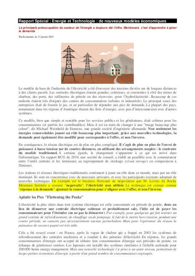 Rapport Spécial : Energie et Technologie : de nouveaux modèles économiques La principale préoccupation du secteur de l'éne...