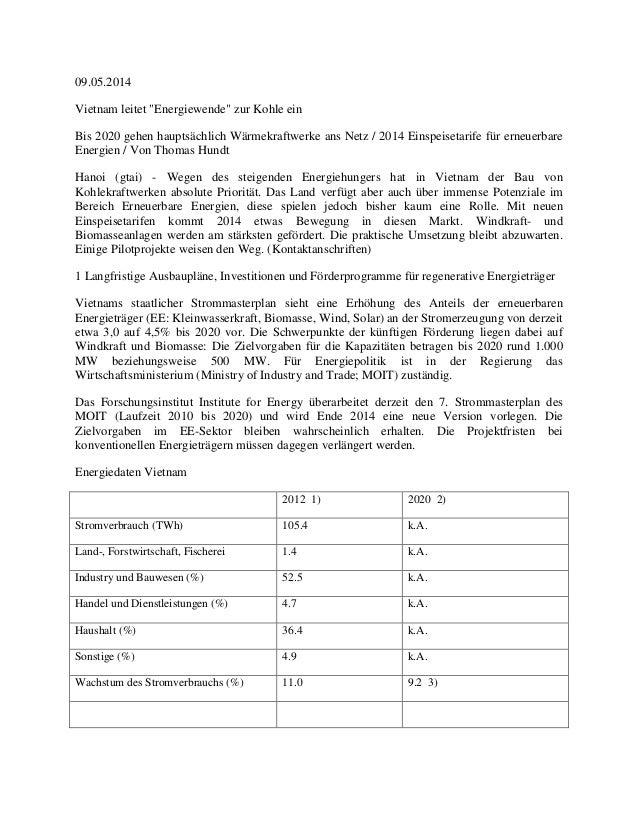 """09.05.2014 Vietnam leitet """"Energiewende"""" zur Kohle ein Bis 2020 gehen hauptsächlich Wärmekraftwerke ans Netz / 2014 Einspe..."""