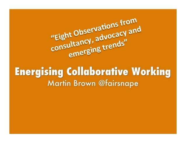 """""""Eight  Observa/ons  from   consultancy,  advocacy  and   emerging  trends"""""""