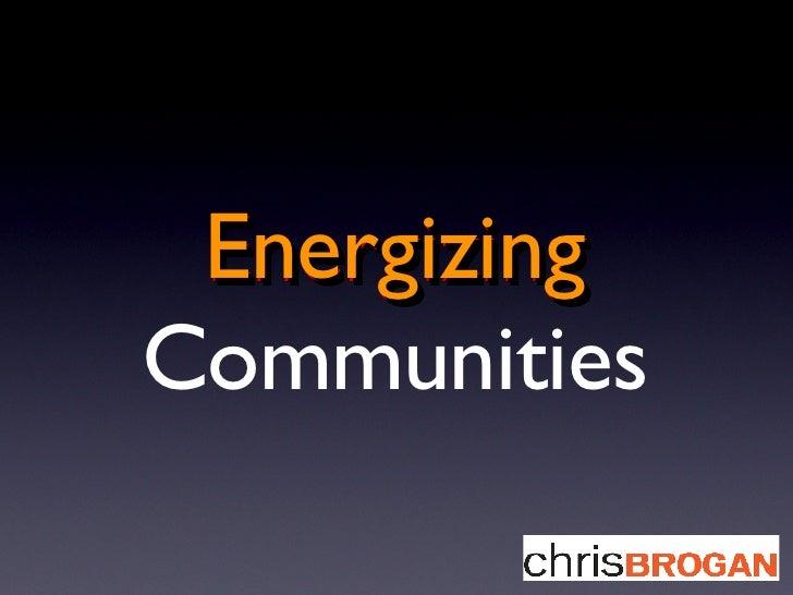 Energizing Communities Energizing