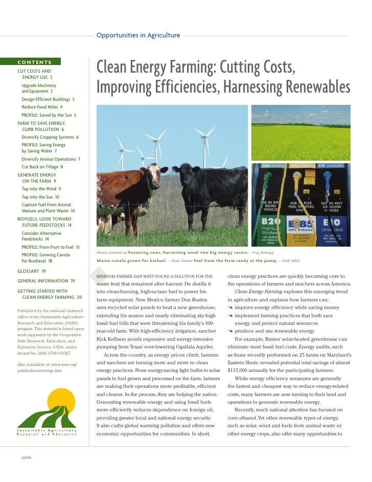 Opportunities in AgricultureCONTENTSCUT COSTS AND  ENERGY USE 2                                        Clean Energy Farmin...