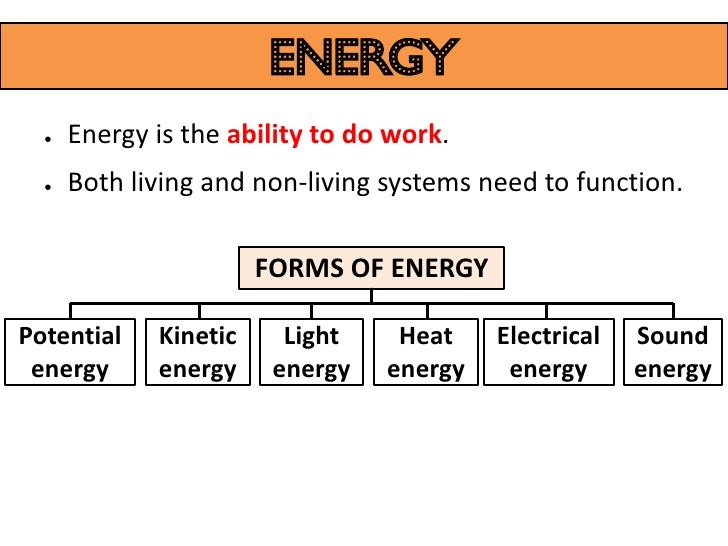 energy  ●   Energy is the ability to do work.  ●   Both living and non-living systems need to function.                   ...