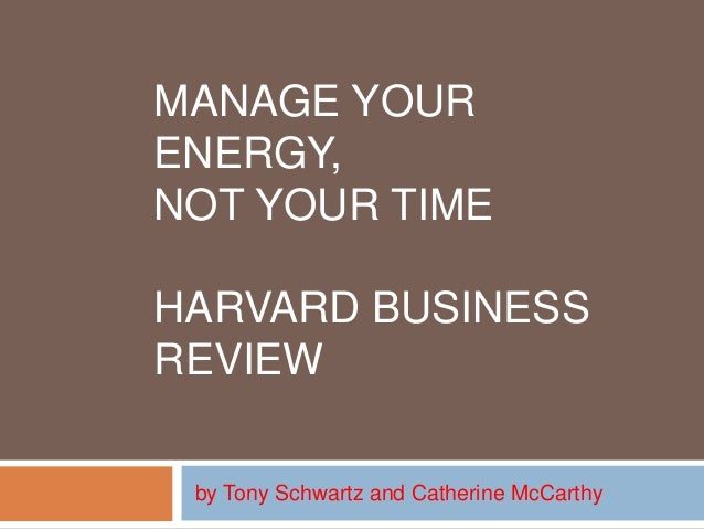 mccarthy manage your energy not your time pdf