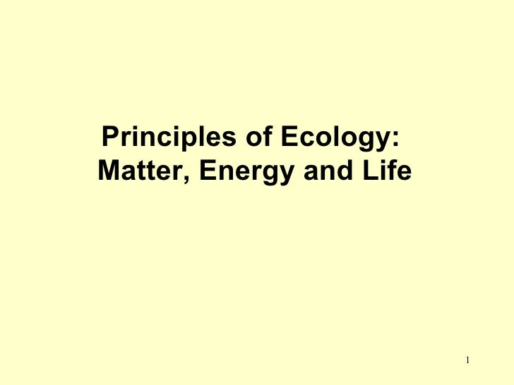 Principles of Ecology:  Matter, Energy and Life
