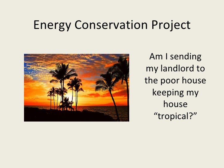 """Energy Conservation Project Am I sending my landlord to the poor house keeping my house """"tropical?"""""""