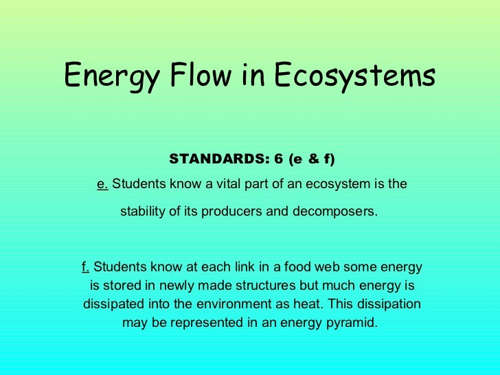 Energy Flow in Ecosystems STANDARDS: 6 (e & f) e.  Students know a vital part of an ecosystem is the stability of its prod...