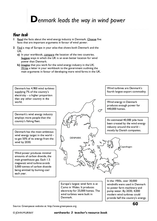 Energy and resources pack – Energy Resources Worksheet