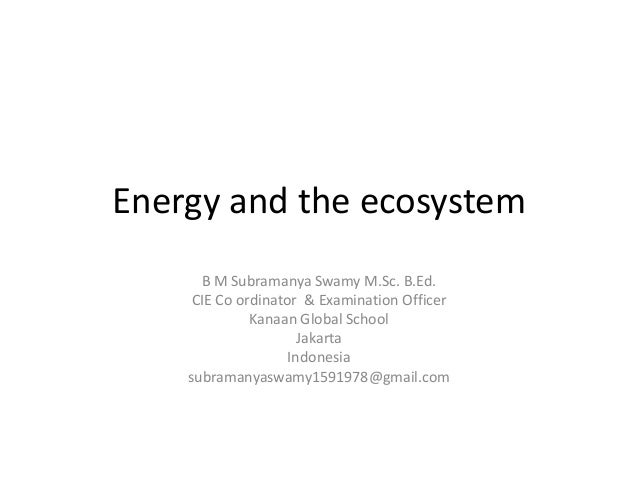 Energy and the ecosystem B M Subramanya Swamy M.Sc. B.Ed. CIE Co ordinator & Examination Officer Kanaan Global School Jaka...