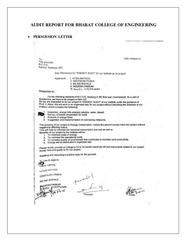 audit report for bharat college of engineering permission letter 40 we conducted an energy