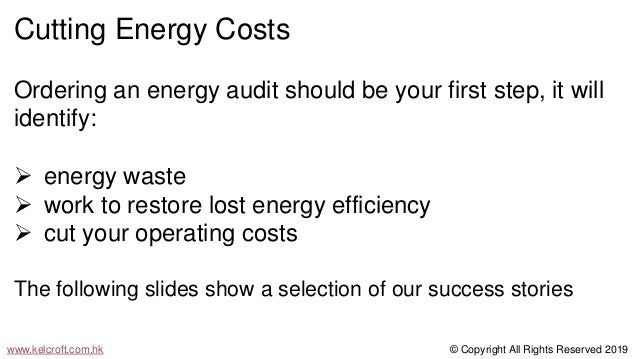 Energy Audit - a cost cutting tool to lower your costs and carbon emissions Slide 2