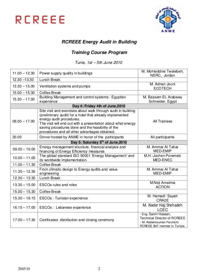 Energy audit in building 2010 agenda