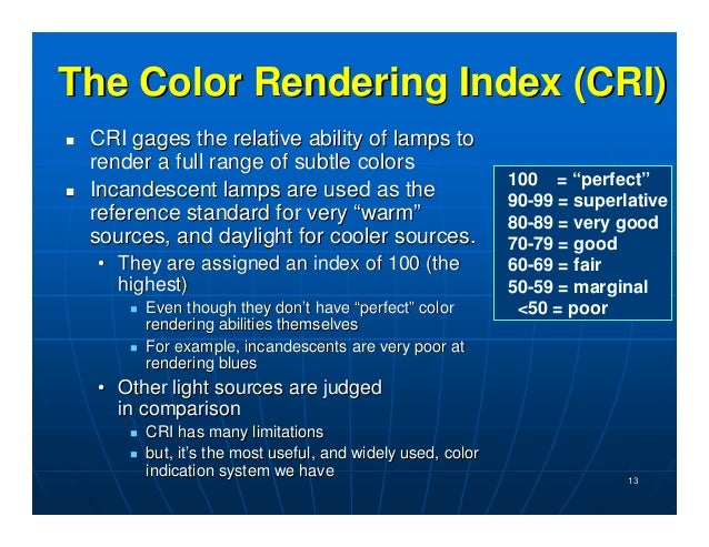 ... visual conditions; 13. The Color Rendering ...  sc 1 st  SlideShare & Day 3 Energy Audits of Lighting Systems