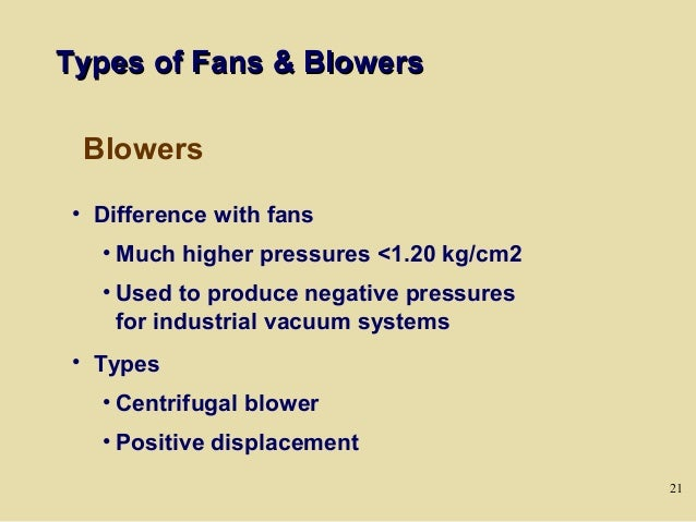 Types Of Blowers : Day fans and pumps