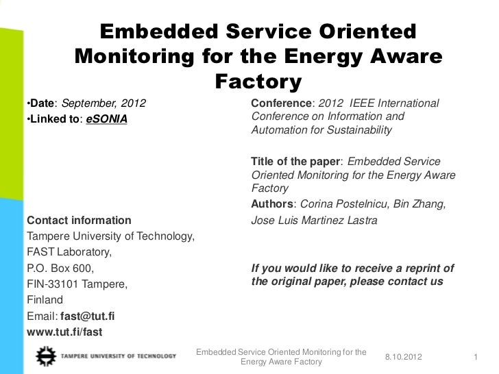 Embedded Service Oriented         Monitoring for the Energy Aware                     Factory•Date: September, 2012       ...